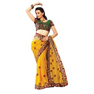 Fabdeal Party Wear Yellow  Green Colored Chiffon With Jacquard Saree