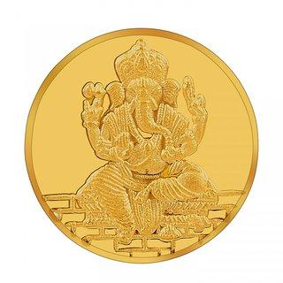 RSBL BIS Hallmarked 1 grams 24k (995) Yellow Gold Ganesh Precious Coin