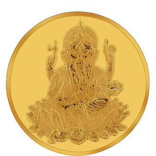 RSBL BIS Hallmarked 2 grams 24k (995) Yellow Gold Ganesh Precious Coin