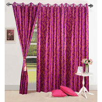 Homesazawat Flower Design  Dark Pink Eyelet Door Curtain-4x7ft - Set Of 3