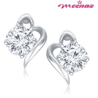 MEENAZ VICTOIAN CURL SOLITAIRE RHODIUM PLATED CZ EARINGS T129
