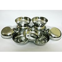 STAINLESS STEEL DISH PLATES  SET OF 12 PIECES