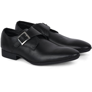 Ziraffe Black Monk Strap Genuine Leather Formal Shoes