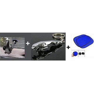 Combo Of Car Side Window Black SunShade  Get Free Jaguar Key Chain And Mobile Holder