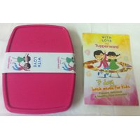 "Tupperware Slim Lunch Box For Children (6.5""x 4.5"") - Free 7 Day Lunch Meal Book"