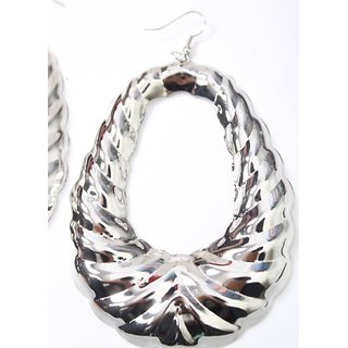 Fashion Boom Stylish Oval Shape Long Earings In Silver Color Bollywood Diva....