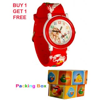Kids Barbie & Cartoon Wrist Watch Combo 3D Desgin On Strip