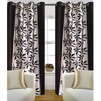 Beautiful Coffee Color Floral Design Ready To Hang Door(7X4 Ft) Curtain