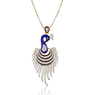 Gold Plated Designer Peacock Pendant Set Without Chain By Mgold