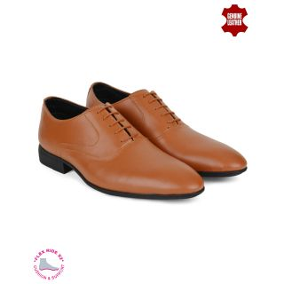 Ziraffe NATA Genuine Leather Tan Mens Formal Shoes
