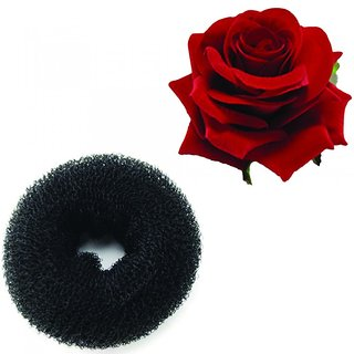 Combo of Hair Donut Ring Bun Maker and Red Rose Flower Hair Clip