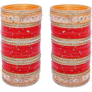 Lucky Jewellery Red Bridal Punjabi Choora Designer Wedding Chuda Stone Fashion Chura Set