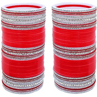 Lucky Jewellery Red Designer White Stone Chuda Fashion Bridal Chura Punjabi Wedding Choora Set