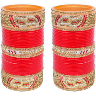 Lucky Jewellery Designer Golden White & Red Stone Chuda Bridal Wedding Choora Fashion Chura Set
