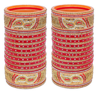 Lucky Jewellery Designer Golden White & Red Stone Chuda Bridal Wedding Choora Fashion Chura Set