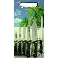 7pcs. Set Of Chopping Board With Kitchen Knives & Knife Sharpener
