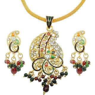 "AAKSHI ""Swayamvaar Ki Saughat, Dil Ki Awaaz"" CZ Diamond Studded Meenakari Work Booty 3-piece Jewellery Set"