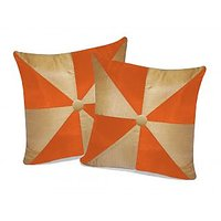 Zikrak Exim Gig Design Beige & Orange Cushion With Button (2 Pcs Set)