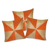 Zikrak Exim Gig Design Beige & Orange Cushion With Button (3 Pcs Set)