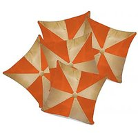 Zikrak Exim Gig Design Beige & Orange Cushion With Button (5 Pcs Set)