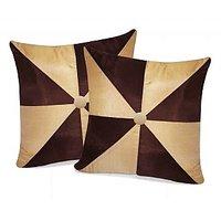 Zikrak Exim Gig Design Beige & Brown Cushion With Button (2 Pcs Set)