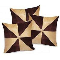 Zikrak Exim Gig Design Beige & Brown Cushion With Button (3 Pcs Set)