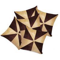 Zikrak Exim Gig Design Beige & Brown Cushion With Button (5 Pcs Set)