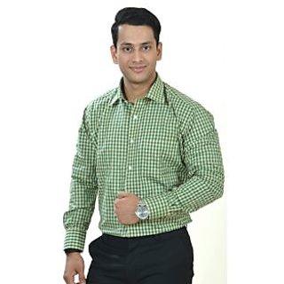 Dennnison Beige Green Checkered Mens Formal Shirt