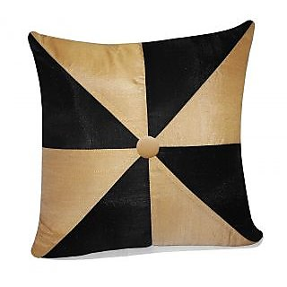 Zikrak Exim Gig Design Cushion With Button Beige & Black (1 Pc)