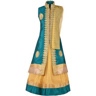 Aarika Girls Embroidered Long Jacket Lehenga And Dupatta Set