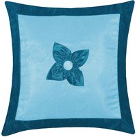 Zikrak Exim Button Flower Cushion Cover Sky Blue & Blue (1 Pc)