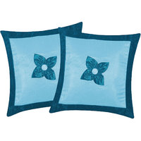 Zikrak Exim Button Flower Cushion Cover Sky Blue & Blue (2 Pcs Set)