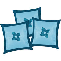 Zikrak Exim Button Flower Cushion Cover Sky Blue & Blue (3 Pcs Set)