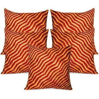 Zikrak Exim Zig Zag Pintucks Cushion Cover Rust & Orange (5 Pcs Set)