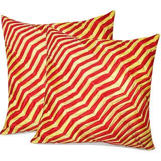 Zikrak Exim Zig Zag Pintucks Cushion Cover Red & Yellow (2 Pcs Set)