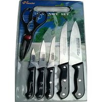 7 PC KNIFE SET WITH SCISSOR & CUTTING CHOPPING BOARD HEAVY QUALITY