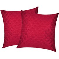 Zikrak Exim Square Quilting Cushion Cover Maroon (2 Pcs Set)