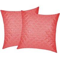 Zikrak Exim Square Quilting Cushion Cover Pink (2 Pcs Set)