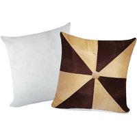 Zikrak Exim Gig Design Cushion With Filler Beige & Brown (2 Pcs Set)