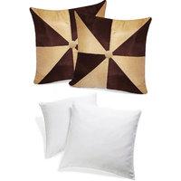 Zikrak Exim Gig Design Cushion With Fillers Beige & Brown (4 Pcs Set)
