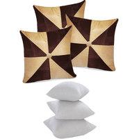 Zikrak Exim Gig Design Cushion With Fillers Beige & Brown (6 Pcs Set)