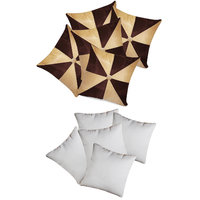 Zikrak Exim Gig Design Cushion With Fillers Beige & Brown 10 Pcs Set