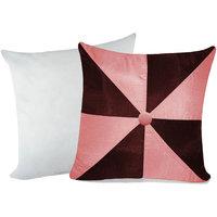 Zikrak Exim Gig Design Cushion With Filler Pink & Brown (2 Pcs Set)