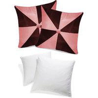 Zikrak Exim Gig Design Cushion With Fillers Pink & Brown (4 Pcs Set)