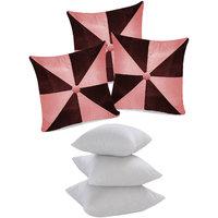 Zikrak Exim Gig Design Cushion With Fillers Pink & Brown (6 Pcs Set)