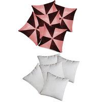 Zikrak Exim Gig Design Cushion With Fillers Pink & Brown (10 Pcs Set)