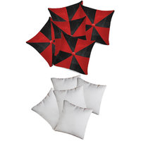 Zikrak Exim Gig Design Cushion With Fillers Red & Black (10 Pcs Set)