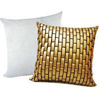 Zikrak Exim Golden Leather Bricks Cushion With Filler (2 Pcs Set)