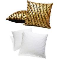 Zikrak Exim Golden Leather Bricks Cushion With Fillers (4 Pcs Set)
