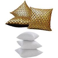 Zikrak Exim Golden Leather Bricks Cushion With Fillers (6 Pcs Set)